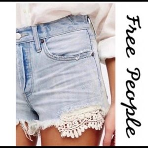 FREE PEOPLE Daisy Blue distressed cut off …